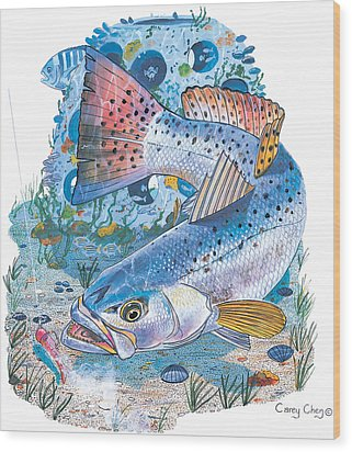 Sea Trout Wreck Wood Print by Carey Chen