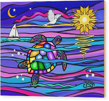 Wood Print featuring the digital art Sea Turle In Blue And Pink by Jean B Fitzgerald