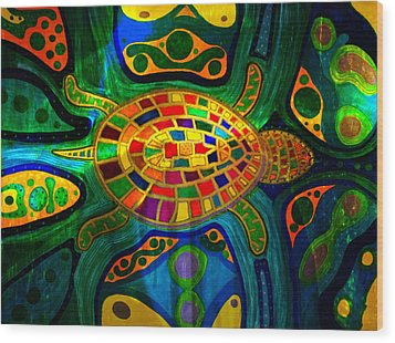 Sea Turtle - Abstract Ocean - Native Art Wood Print