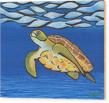 Sea Turtle Wood Print by Adam Johnson