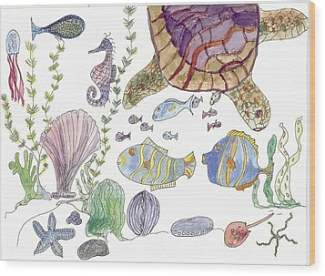 Sea Turtle And Fishies Wood Print