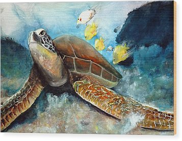 Wood Print featuring the painting Sea Turtle I by Bernadette Krupa