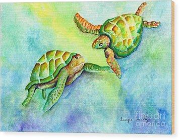 Sea Turtle Courtship Wood Print by Tamyra Crossley