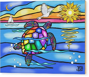 Wood Print featuring the digital art Sea Turtle In Turquoise And Blue by Jean B Fitzgerald