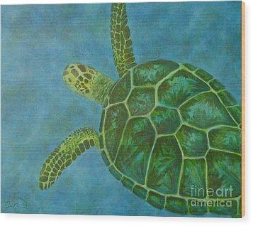 Sea Turtle Wood Print by Julie Neuman