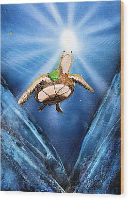 Sea Turtle Wood Print by Just Joszie