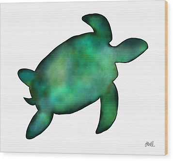 Wood Print featuring the painting Sea Turtle by Laura Bell