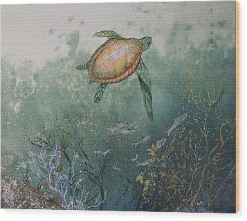 Sea Turtle Wood Print by Nancy Gorr