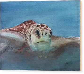 Sea Turtle  Wood Print by Stephanie Sodel