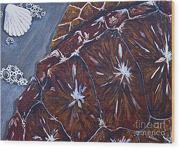 Wood Print featuring the painting Sea Turtle Surf by Melissa Sherbon