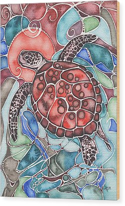 Wood Print featuring the painting Sea Turtle by Tamara Phillips