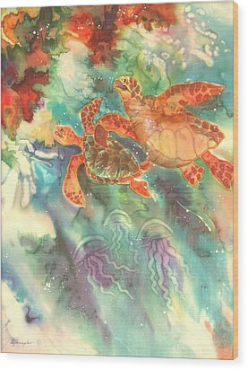Sea Turtles Wood Print by Deborah Younglao