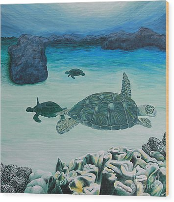 Sea Turtles Wood Print by Krista Kulas