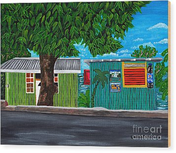 Wood Print featuring the painting Sea-view Cafe by Laura Forde