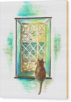 Curiosity - Cat Wood Print
