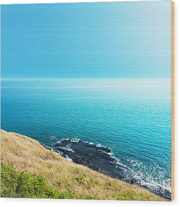 Sea Views From Cliffs Wood Print by Atiketta Sangasaeng