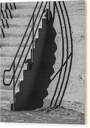 Sea Wall Shadow Wood Print by Perry Webster