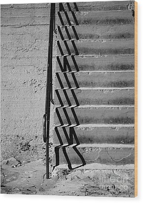 Sea Wall Steps Wood Print by Perry Webster