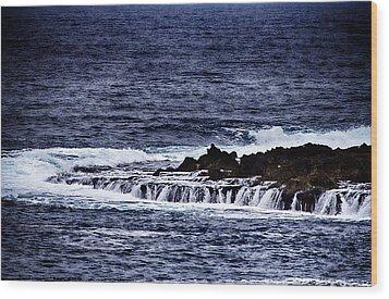 Sea Waterfall Wood Print by Douglas Barnard