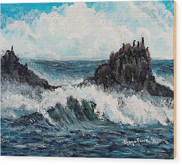 Wood Print featuring the painting Sea Whisper by Shana Rowe Jackson