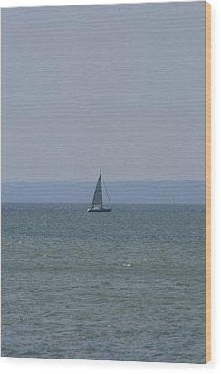 Sea Yacht  Land Sky Wood Print
