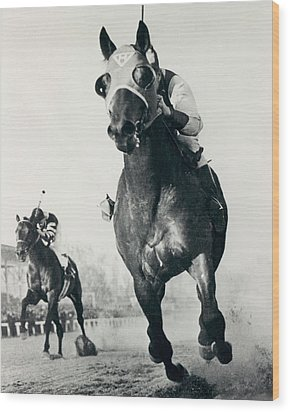 Seabiscuit Horse Racing #3 Wood Print by Retro Images Archive