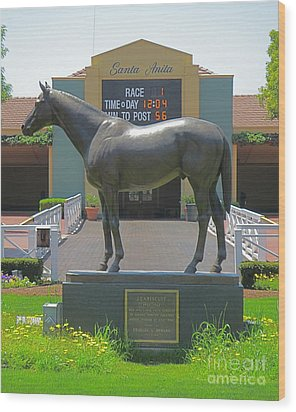 Seabiscuit Statue At Santa Anita Race Track  Wood Print