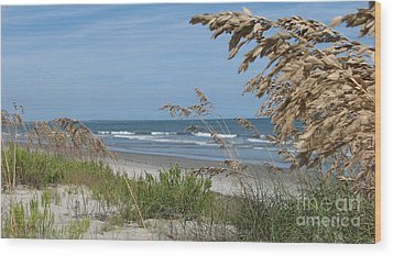 Seabrook Sc Beach Wood Print by Val Miller