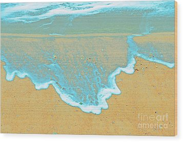 Seafoam Abstract Wood Print by Cindy Lee Longhini