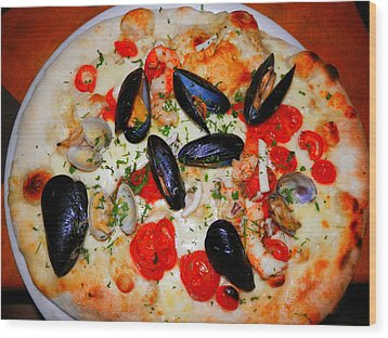 Seafood Pizza Wood Print