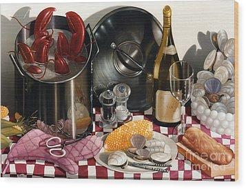 Seafood Serenade 1996  Skewed Perspective Series 1991 - 2000 Wood Print by Larry Preston