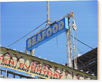 Seafood Sign Wood Print by Valentino Visentini