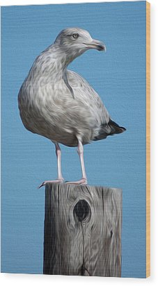 Wood Print featuring the digital art Seagull by Kelvin Booker