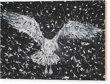 Seagull - Oil Portrait Wood Print by Fabrizio Cassetta