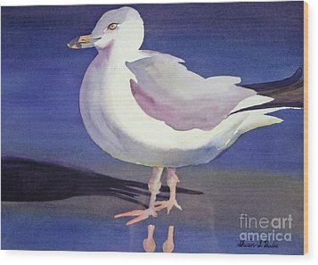 Seagull Wood Print by Shirin Shahram Badie