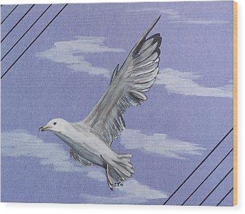 Seagull Wood Print by Susan Turner Soulis