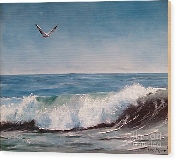 Wood Print featuring the painting Seagull With Wave  by Lee Piper