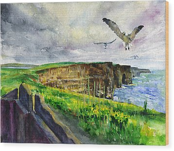 Seagulls At The Cliffs Of Moher Wood Print by John D Benson
