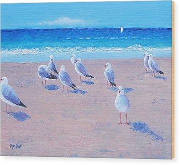 Seagulls Wood Print by Jan Matson