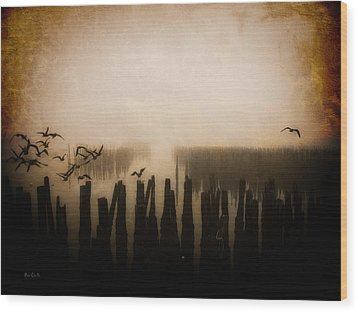Seagulls Of Old Pilings Portland Maine Wood Print by Bob Orsillo