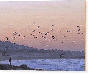 Seagulls Sunrise Wood Print