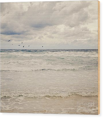 Seagulls Take Flight Over The Sea Wood Print by Lyn Randle