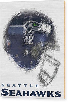 Seahawks 12 Wood Print by Daniel Hagerman