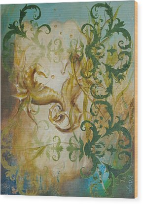 Seahorse Dream 2 Wood Print by Dina Dargo