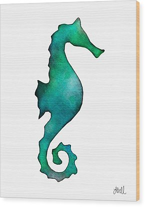Wood Print featuring the painting Seahorse by Laura Bell