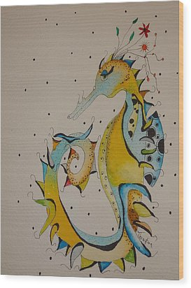 Seahorse Wood Print by Michelle Thompson