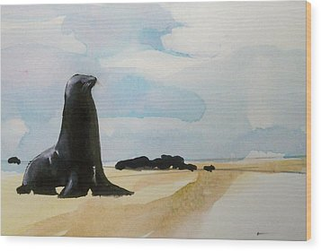 Wood Print featuring the painting Seal Rock by Ed  Heaton