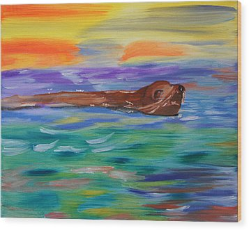 Sunny Sea Lion Wood Print by Meryl Goudey