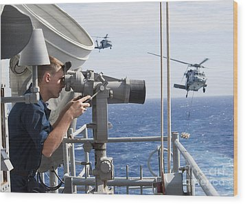 Seaman Apprentice Stands Watch Aboard Wood Print by Stocktrek Images