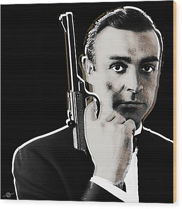Sean Connery James Bond Square Wood Print by Tony Rubino